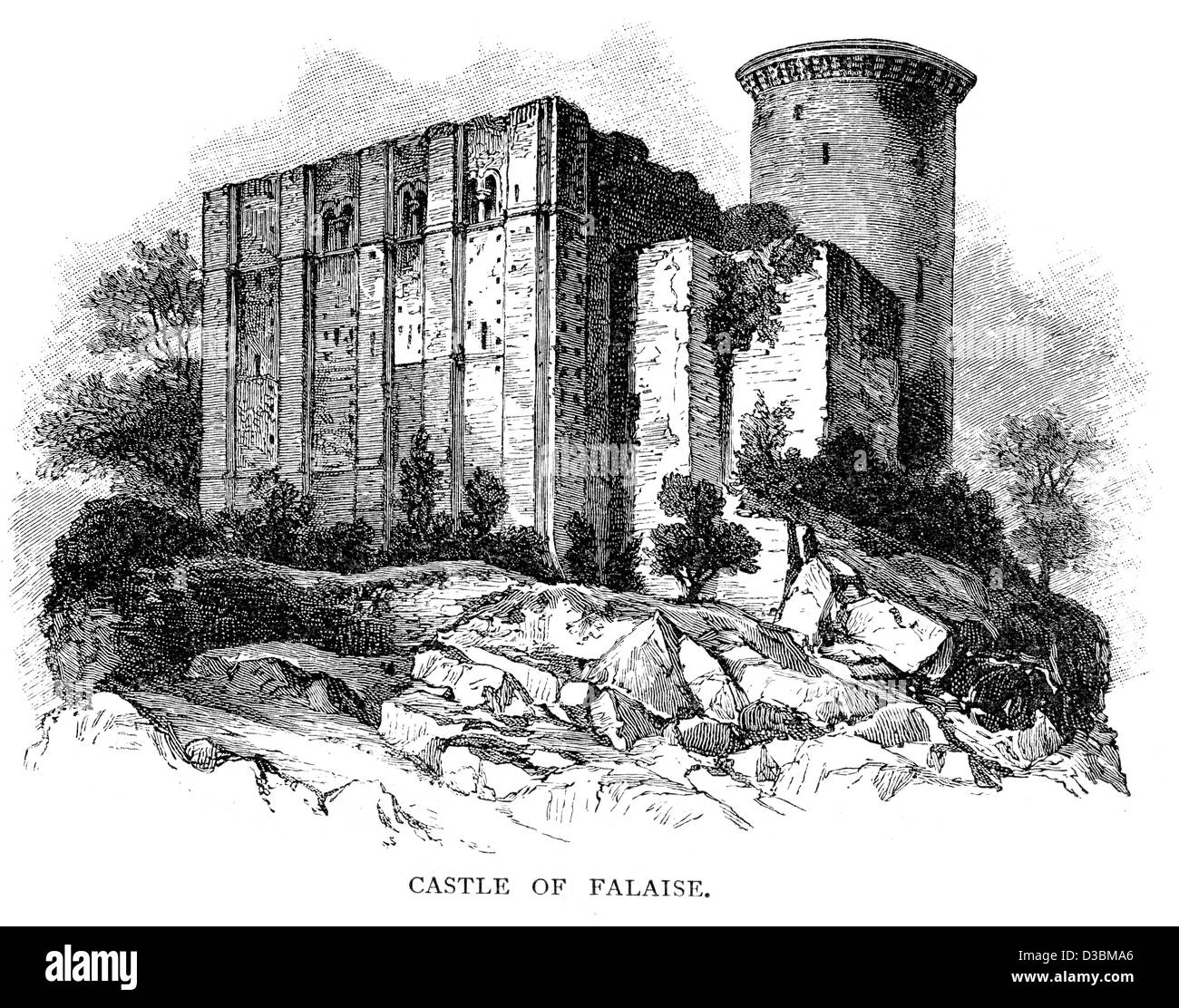 The Château de Falaise is a castle located in the south of the commune of Falaise in Normandy, France. - Stock Image