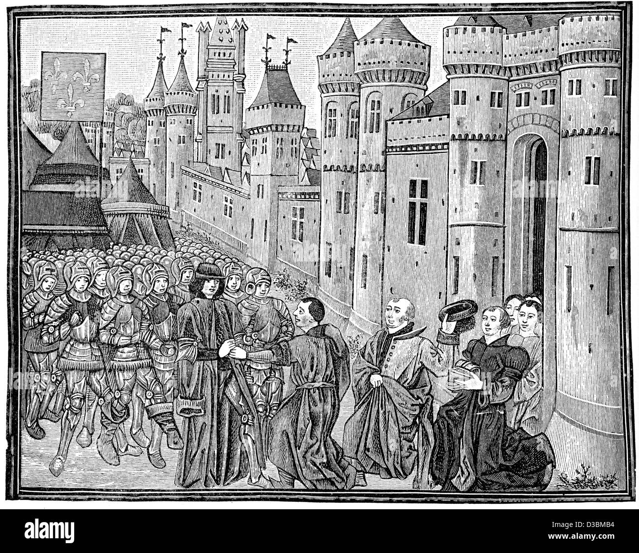 Vintage engraving from a 15th Century original of the Submission of Bordeaux to the French in 1453 during the Hundred - Stock Image