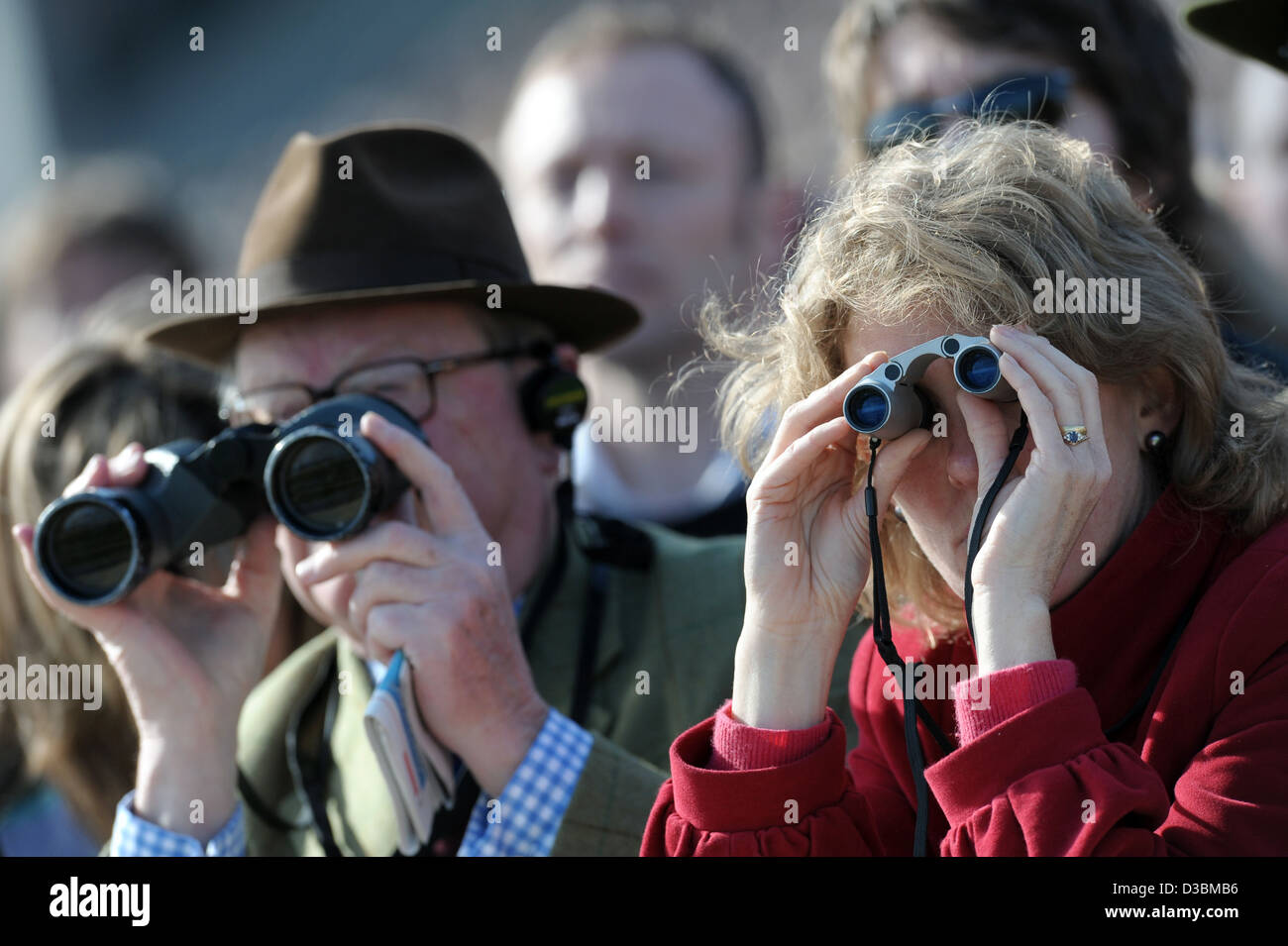 People watch the races through binoculars during the Cheltenham Festival an annual horse racing meeting. Stock Photo