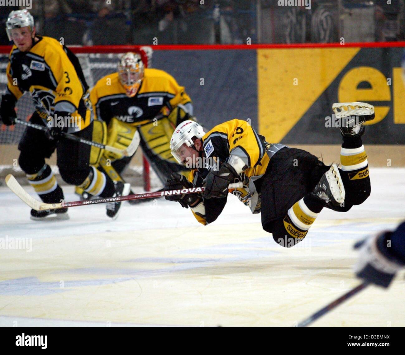 (dpa) - Canadian Gary Shuchuk of the Krefeld Pinguine (Krefeld penguins) seems to fly over the ice rink during the Stock Photo