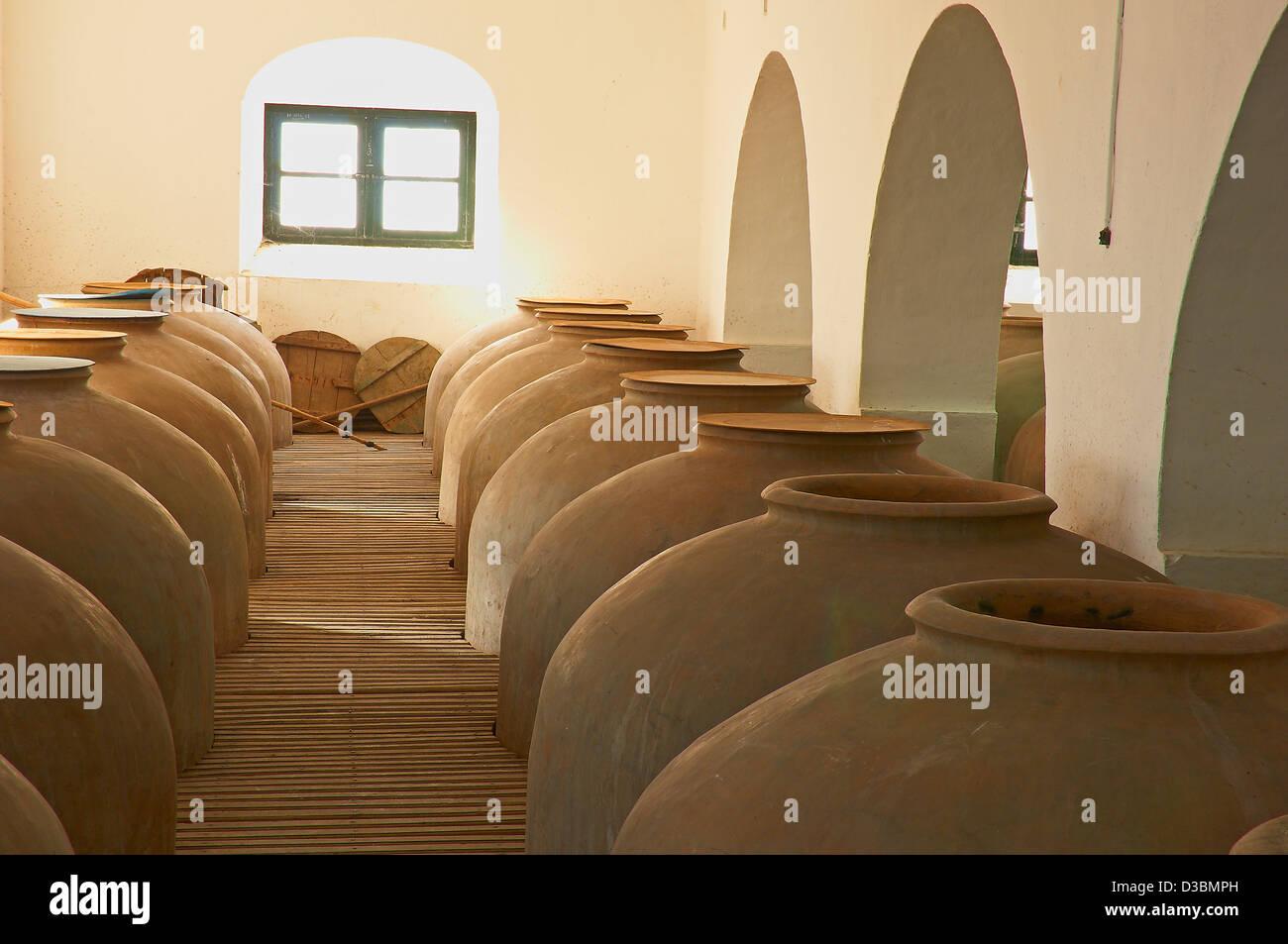 Montilla, Navarro Wine Cellar, Tinajas, Montilla-Moriles Wine Route, Cordoba, Andalusia, Spain - Stock Image