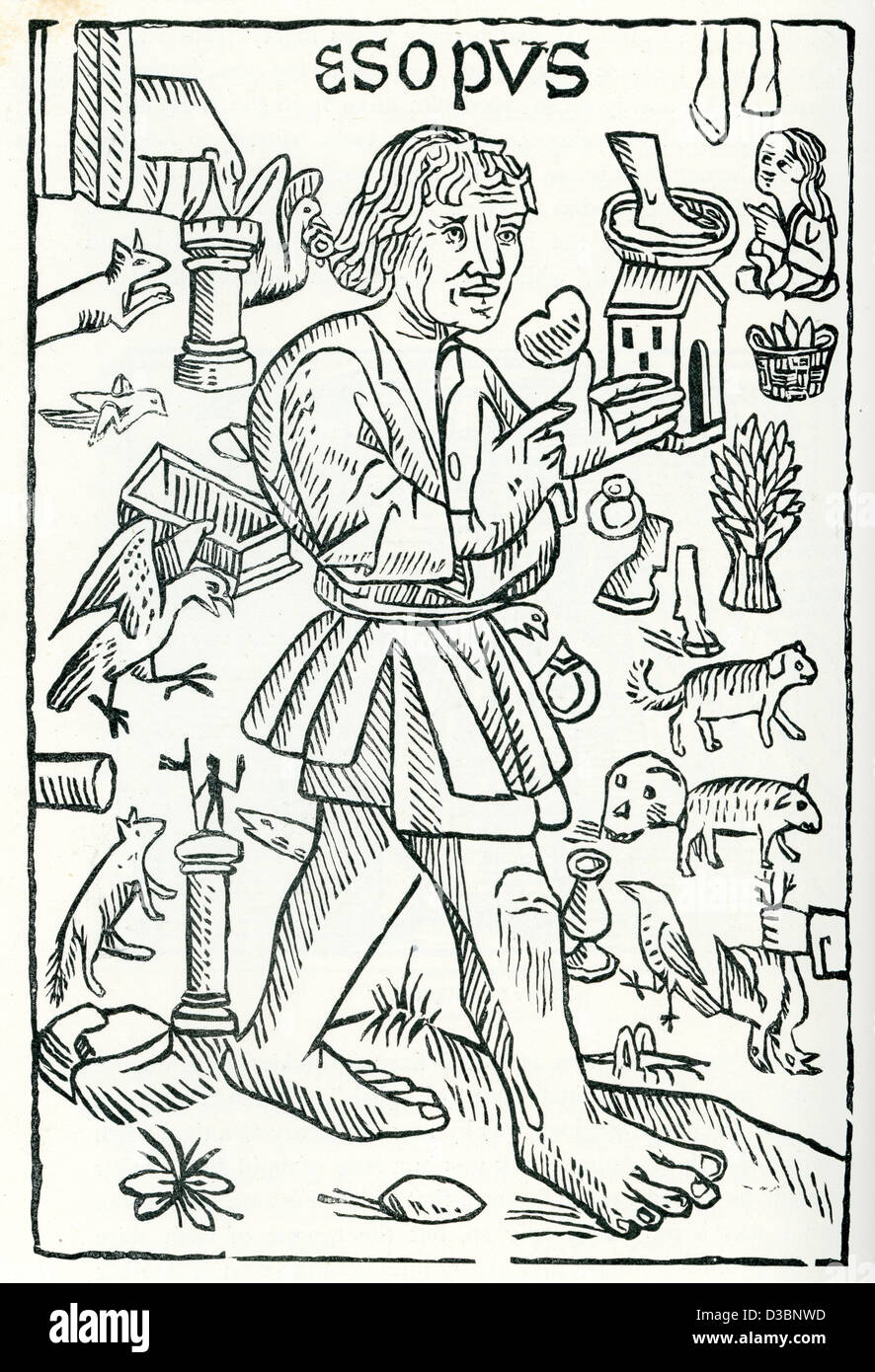 Vintage engraving of Aesop the Frontispiece to William Caxton's Fable of Aesop - Stock Image