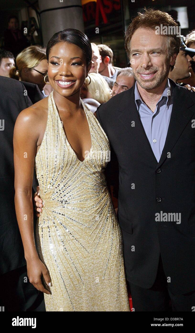 (dpa) - Hollywood actress Gabrielle Union and film producer Jerry Bruckheimer arrive for the German premiere of - Stock Image