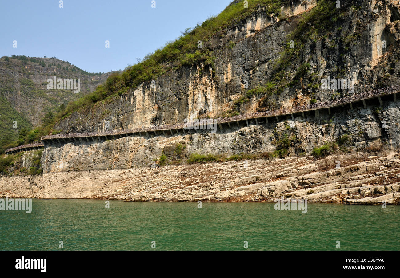 Walkway Built on Sheer Cliff in the Lesser Three Gorges, Wushan, Chongqing, China - Stock Image
