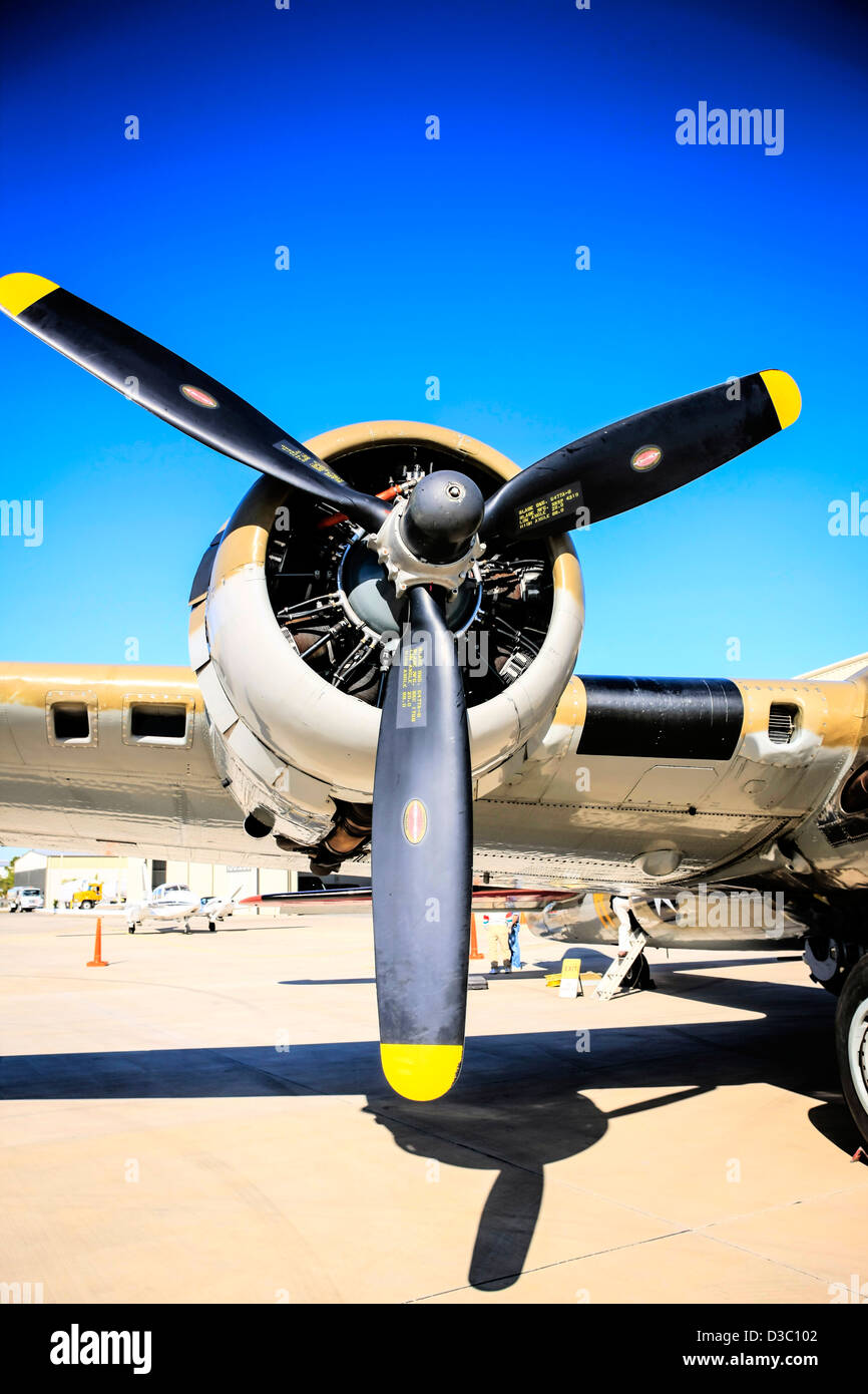 Boeing B17 Flying Fortress turbo-charged wright R-1820 Cyclone engine - Stock Image