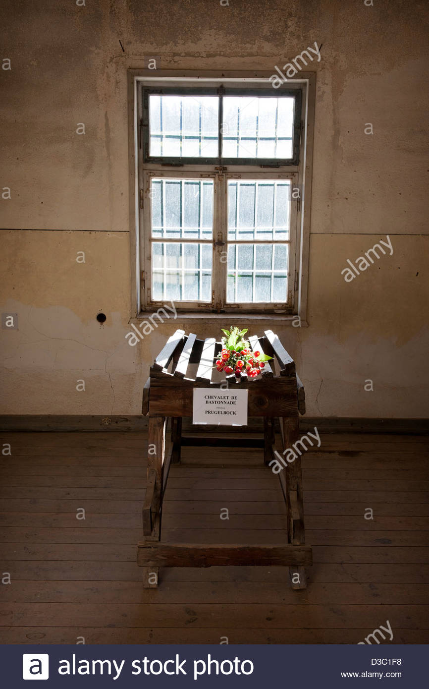 easel for the beating,Natzweiler Struthof camp,Alsace,France - Stock Image