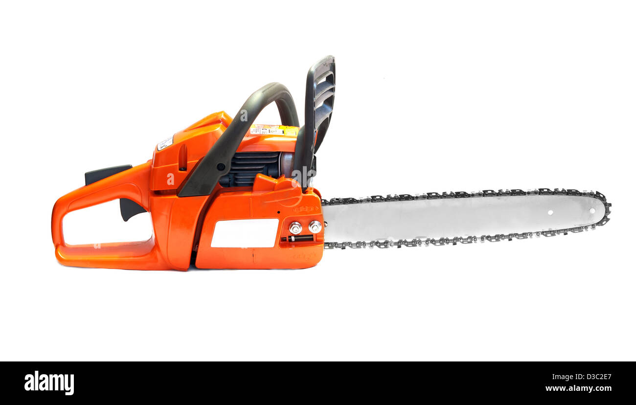 orange chain saw on a white background Stock Photo
