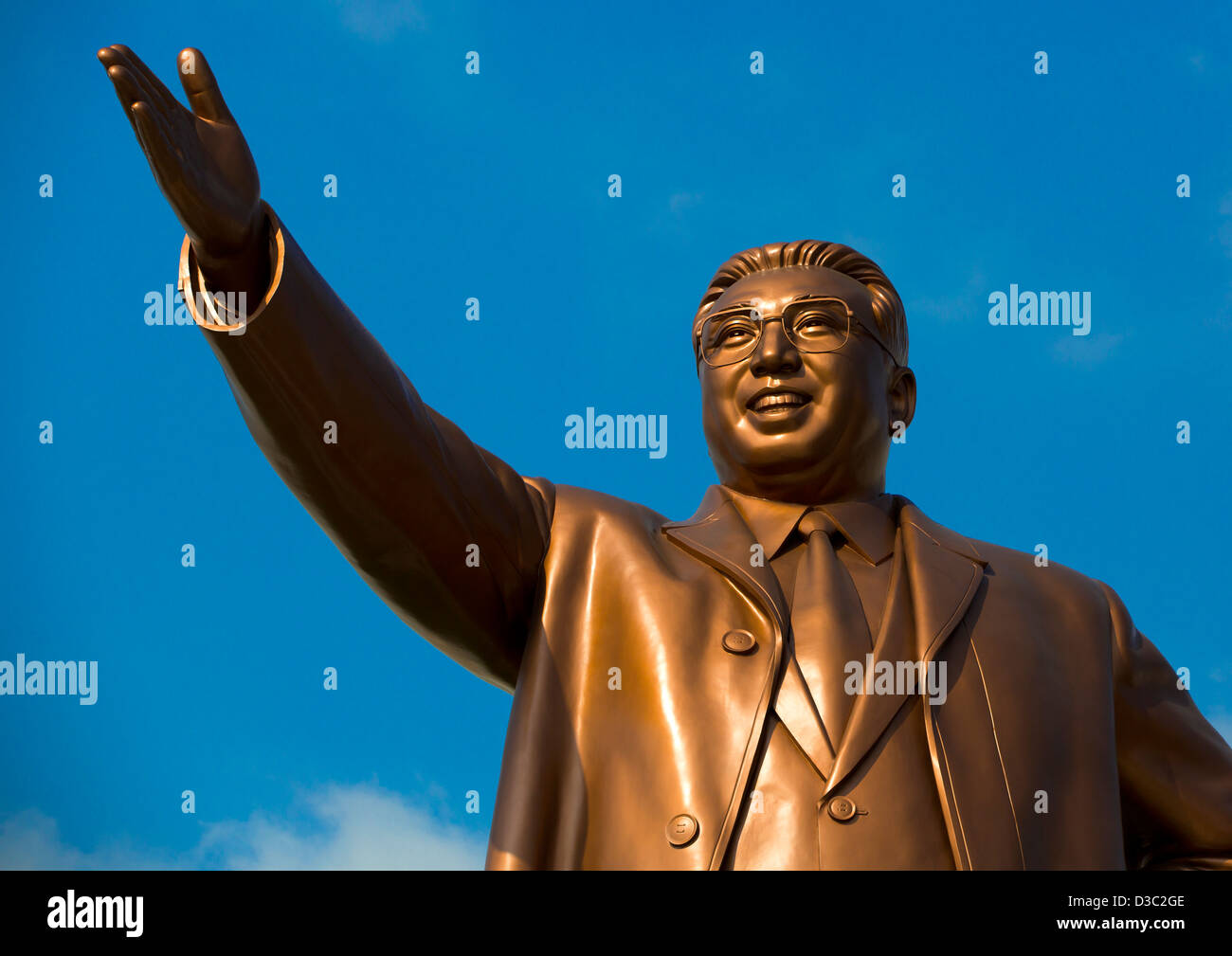Kim Jong Il Statue In Grand Monument Of Mansu Hill, Pyongyang, North Korea - Stock Image