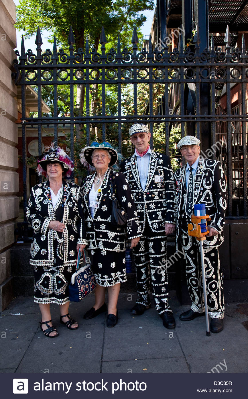 Pearly Kings And Queens, Covent Garden, London, England - Stock Image