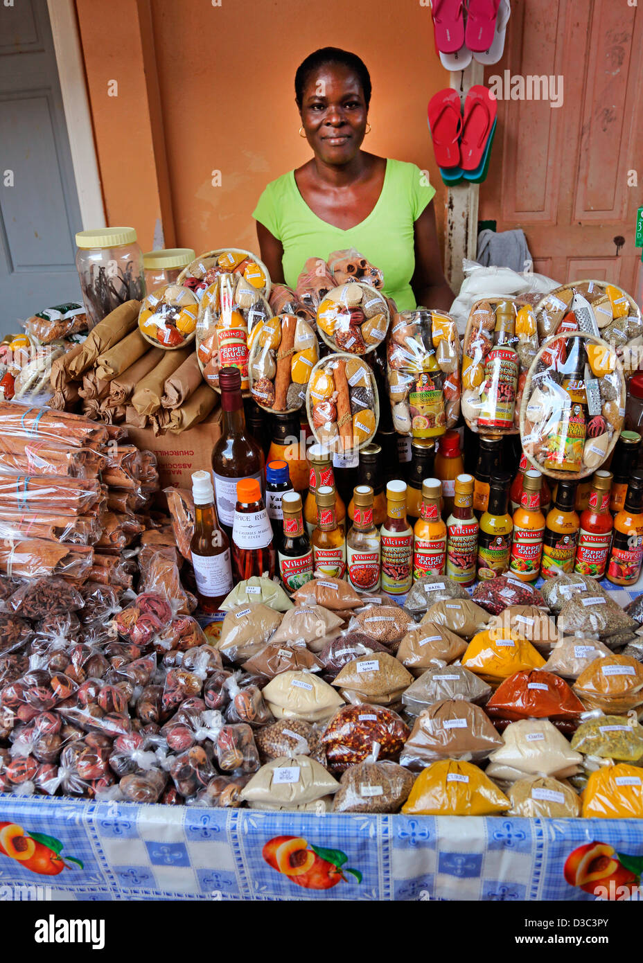 SPICE AND PRODUCE STALL,CASTRIES CENTRAL MARKET,ST.LUCIA - Stock Image