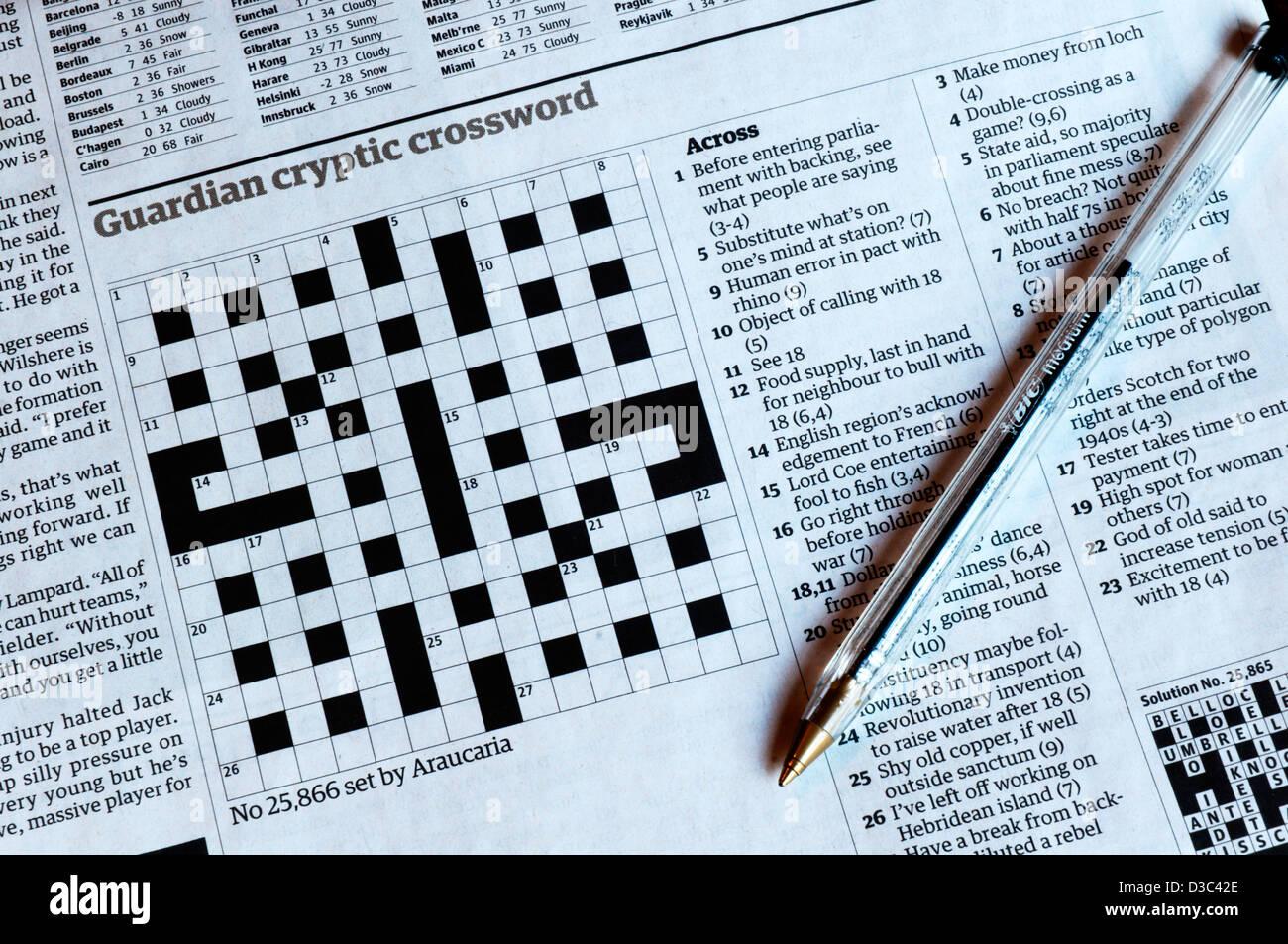 Cryptic Crossword Stock Photos & Cryptic Crossword Stock Images - Alamy