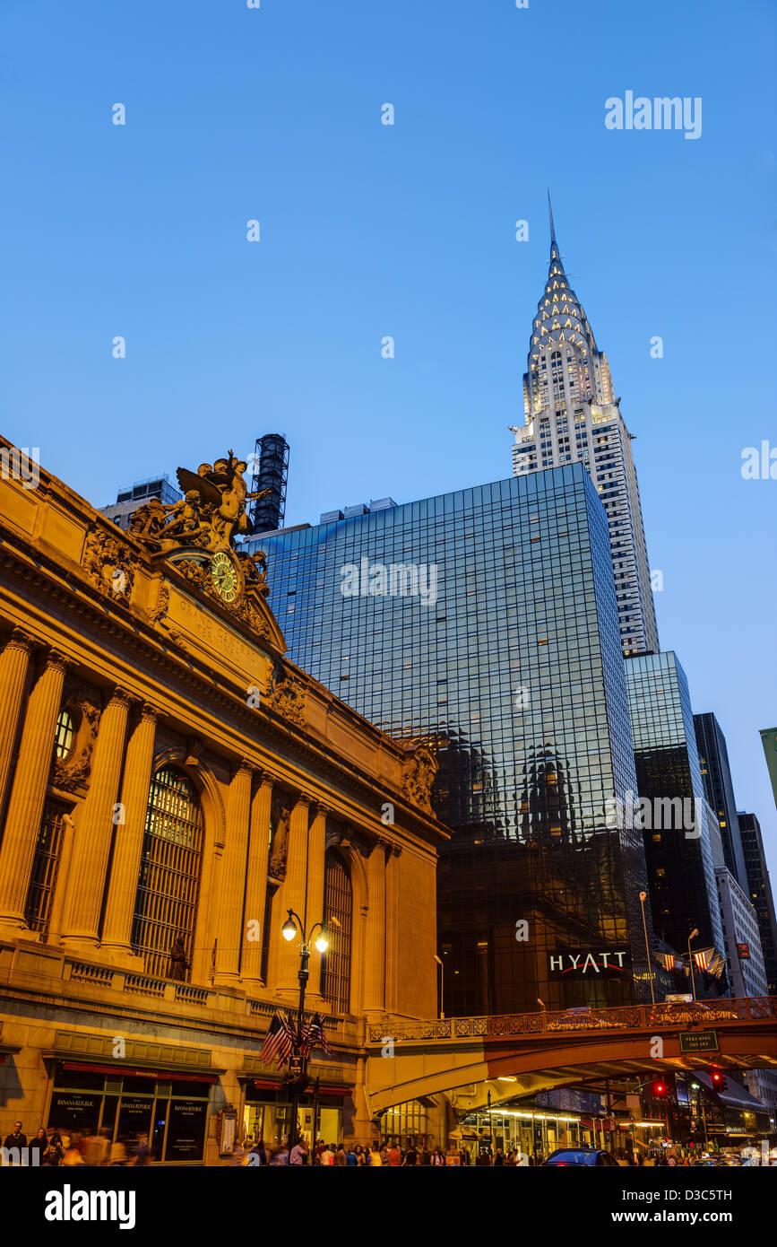Grand Central Station Building, The Chrysler Building & The Hyatt Hotel On 42nd Street, Manhattan,  New York - Stock Image