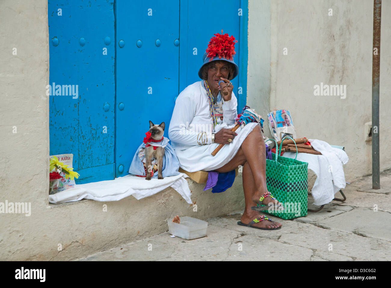 Licensed street model posing for tourists as colourful Cuban woman smoking huge Havana cigar and dressed cat in - Stock Image