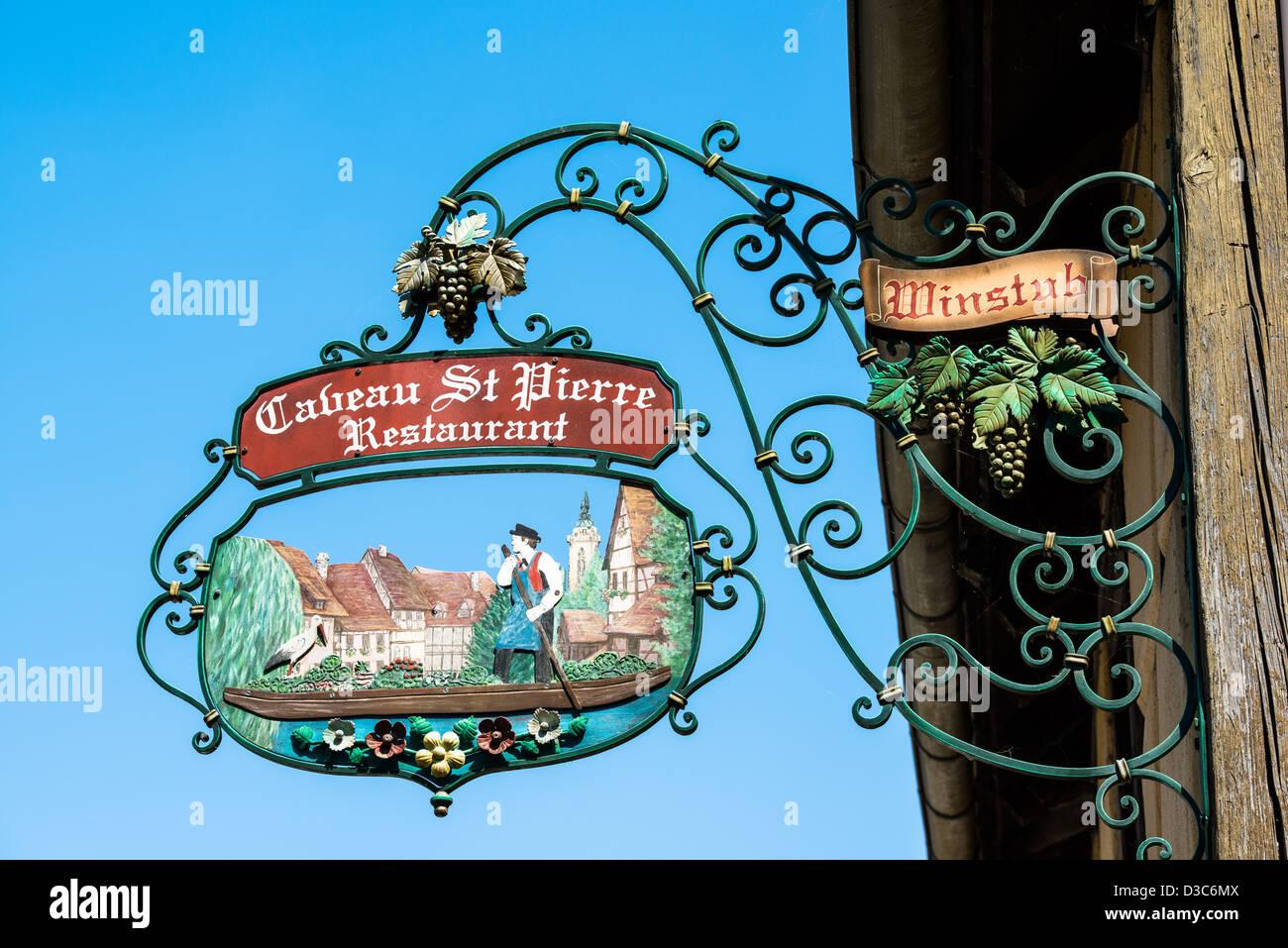Inn sign of Winstub Cabeau St Pierre in Colmar, France - Stock Image