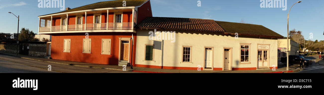 panoramic view of historic Cooper Molina building built 1827 in downtown Monterey Central California Highway One - Stock Image