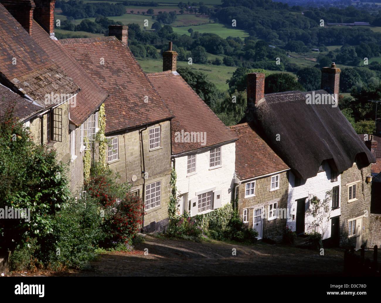 Gold Hill Shaftesbury Dorset England UK - Stock Image