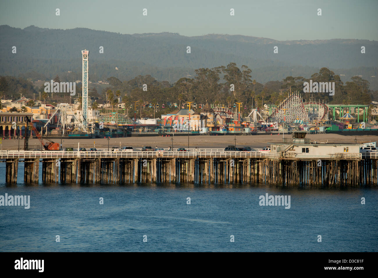 Municipal pier and boardwalk waterfront Santa Cruz on Highway One Northern California USA - Stock Image