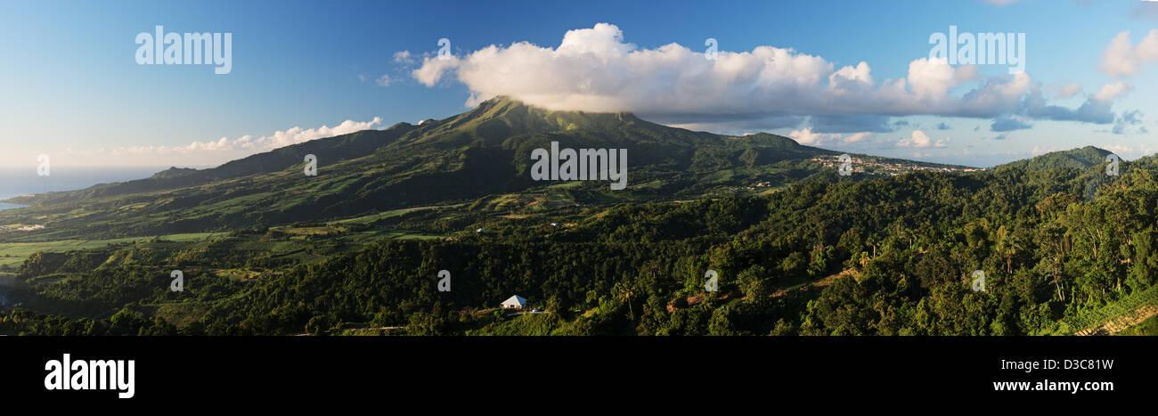 mount pele, montagne pele, Saint Pierre, Martinique Island, Lesser Antilles,  Caribbean Sea, France - Stock Image