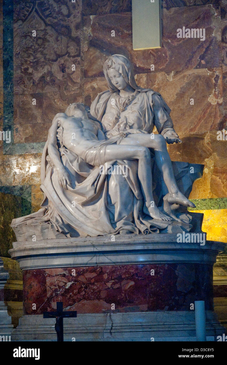 michelangelo's pieta in saint peter's basilica in the vatican in rome Stock Photo