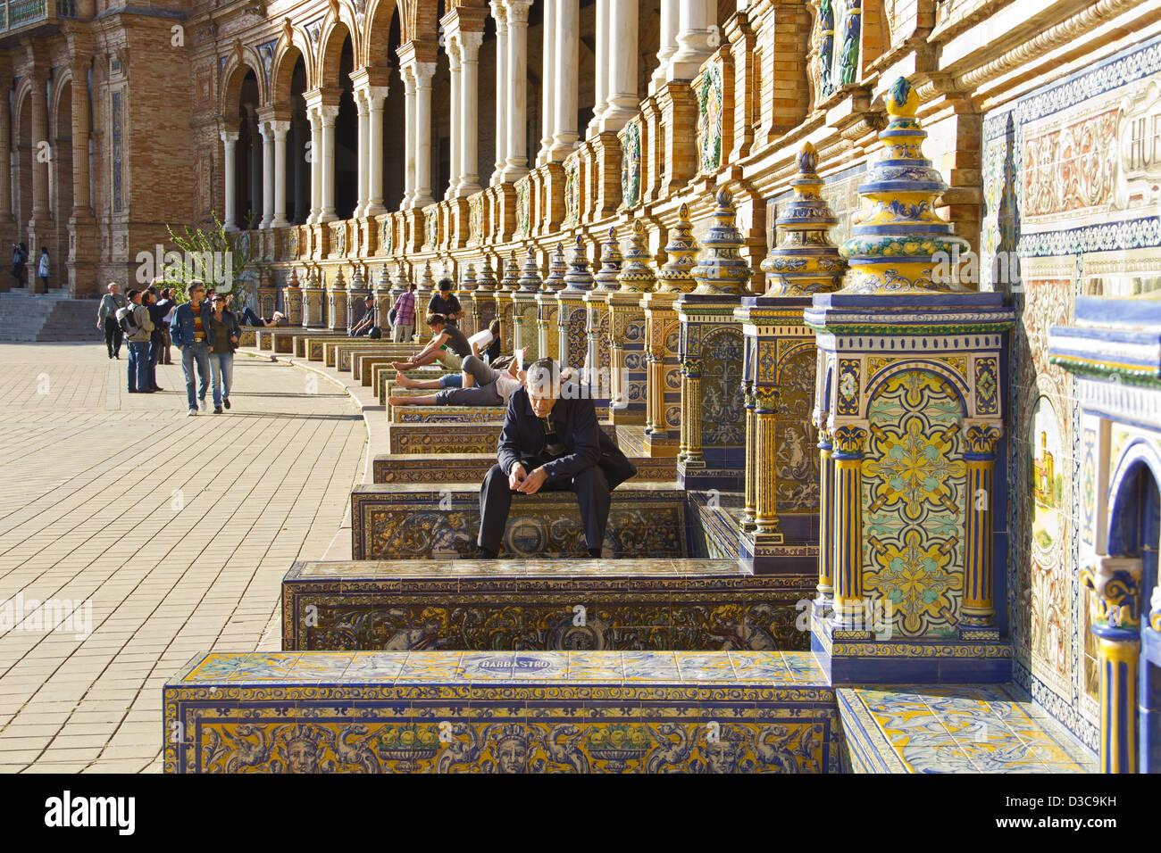 Plaza de Espana, Sevilla, Spain, Seville, Andalusia - Stock Image