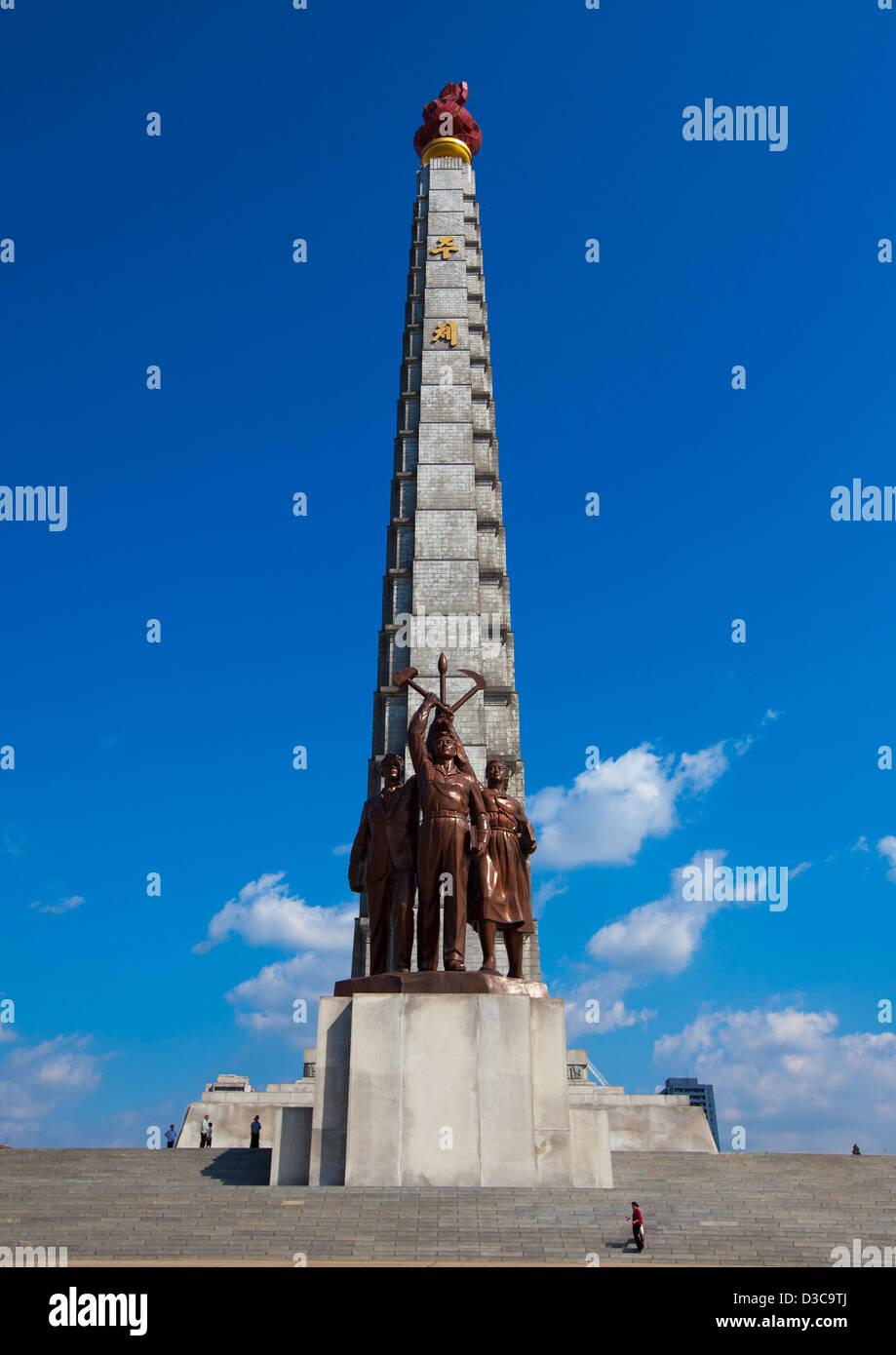 Juche Tower, Pyongyang, North Korea - Stock Image