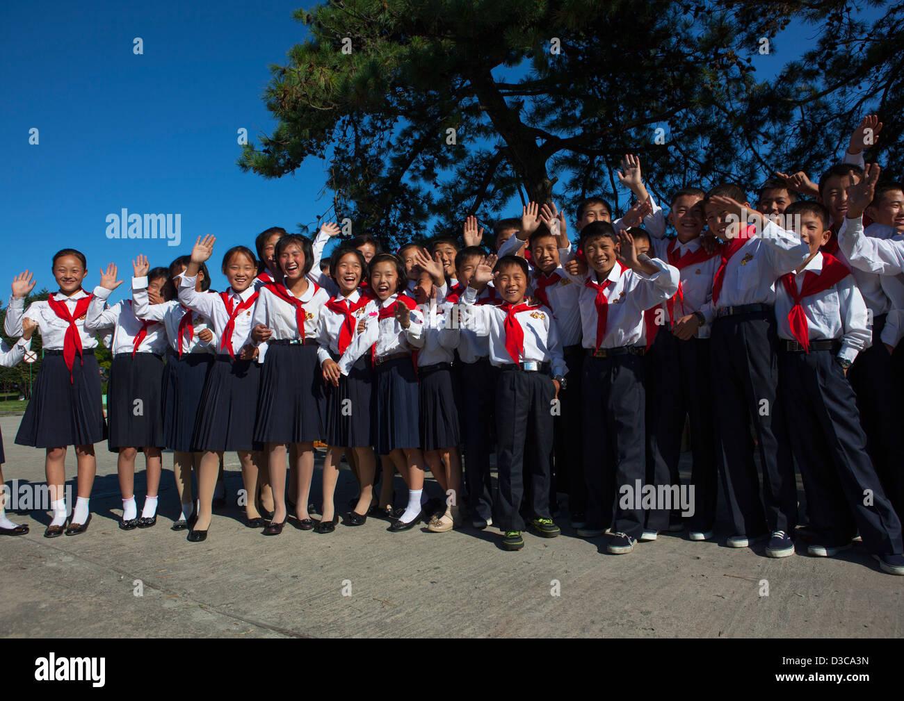 Pioneers At Songdowon International Children's Camp, Wonsan, North Korea, North Korea - Stock Image