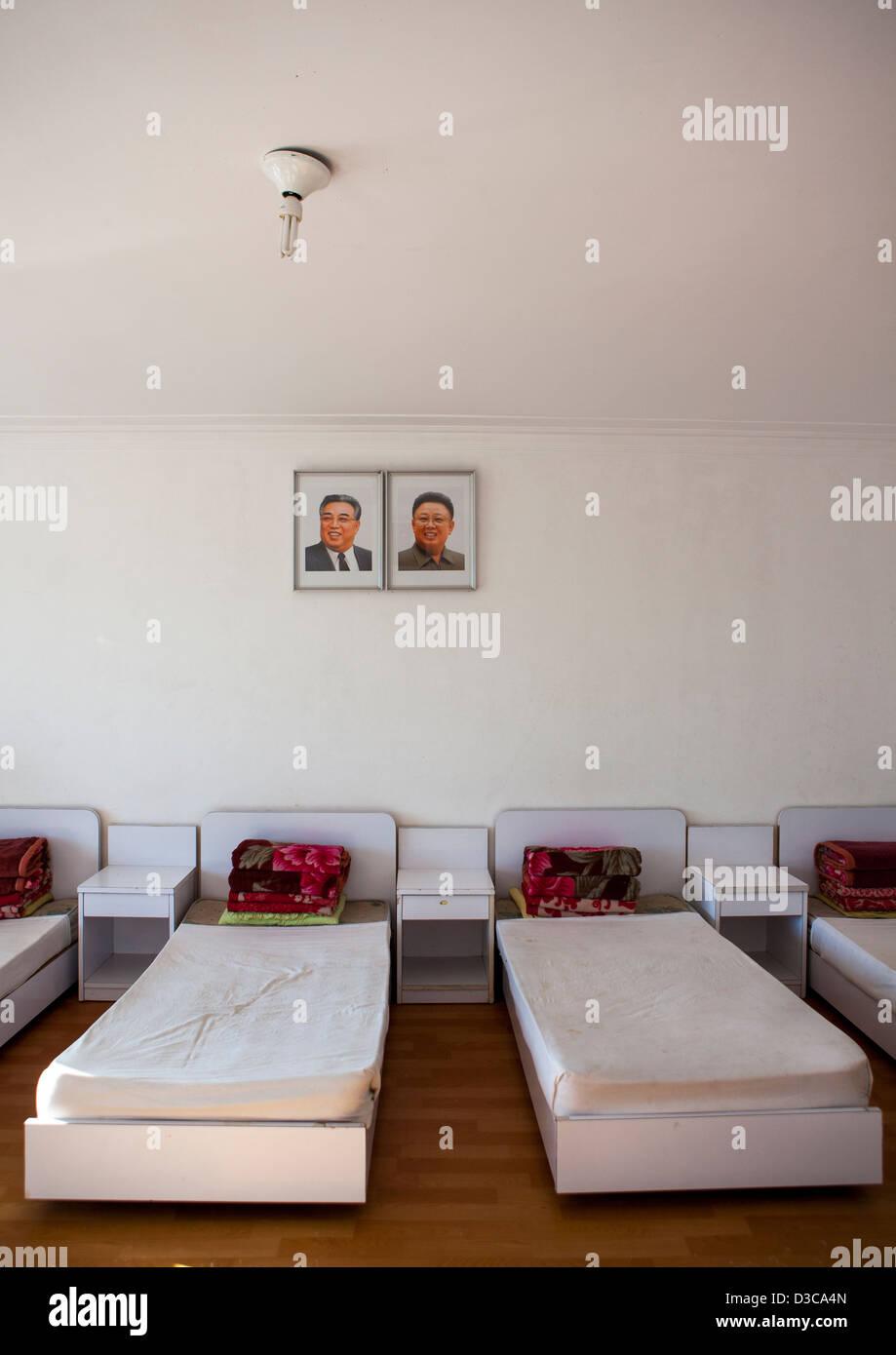 Bedroom In Songdowon International Children's Camp, Wonsan, North Korea, North Korea - Stock Image