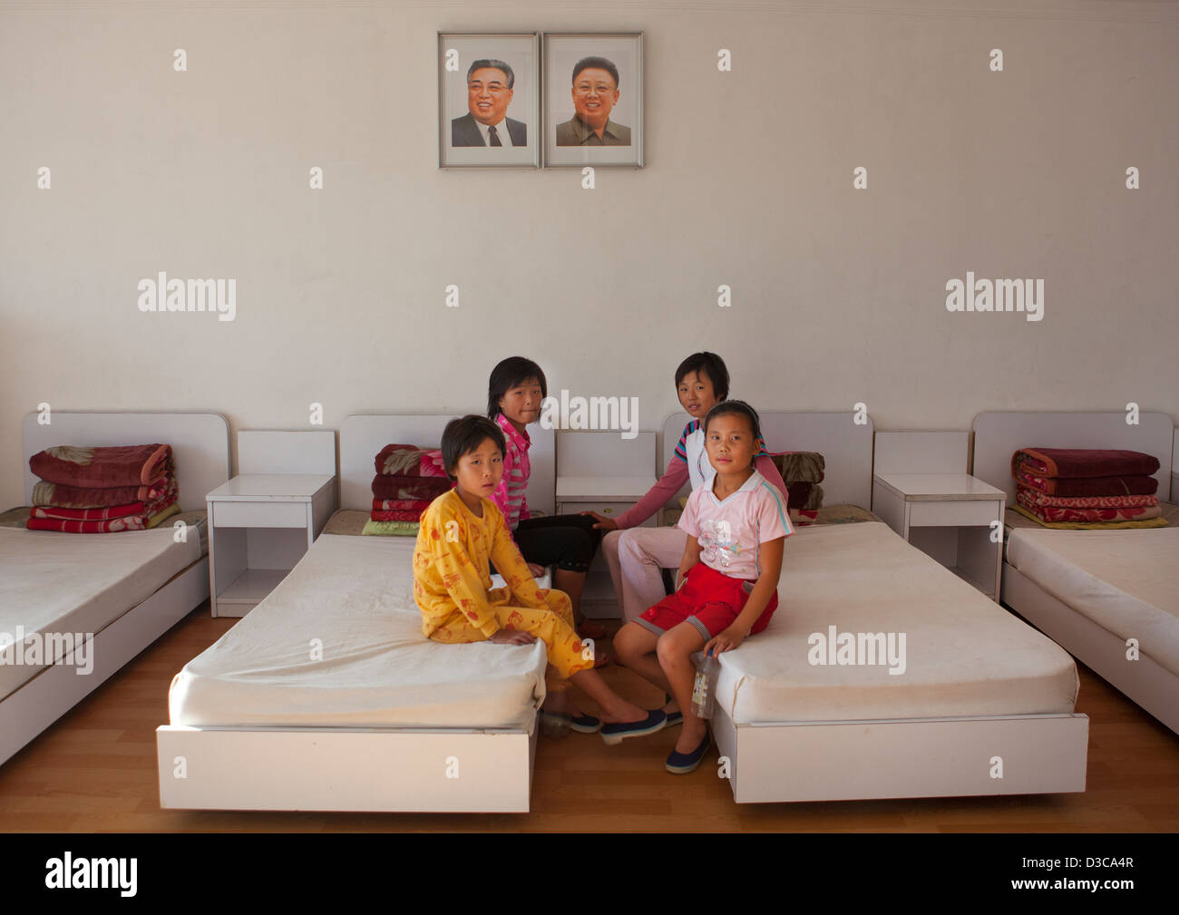 Kids In A Room Of Songdowon International Children's Camp, Wonsan, North Korea, North Korea - Stock Image