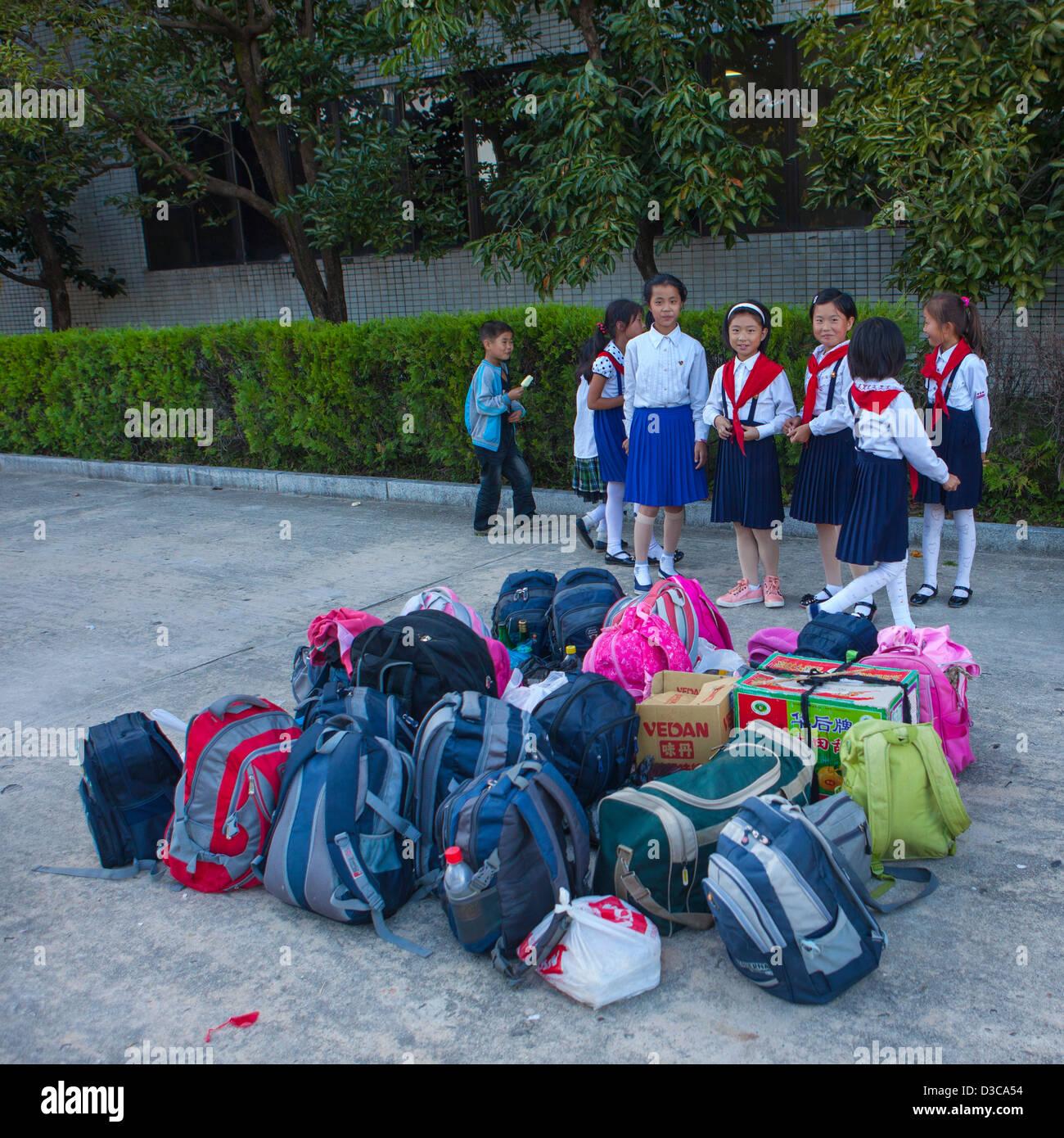 Pioneers Kids Arriving At Songdowon International Children's Camp, Wonsan, North Korea, North Korea Stock Photo