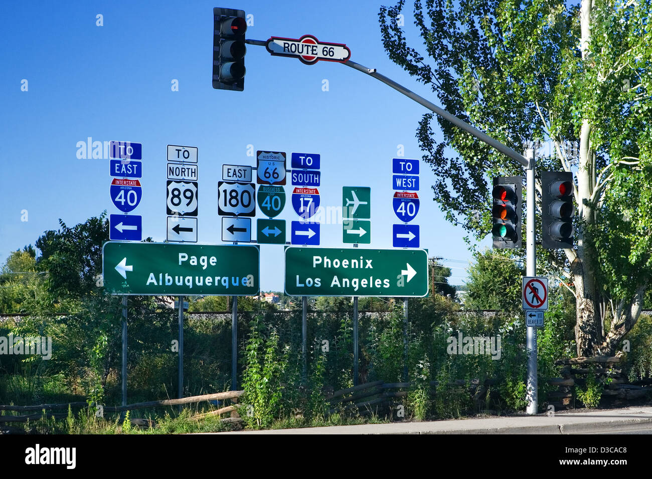 Road signs on Route 66 in Flagstaff, Arizona, USA - Stock Image