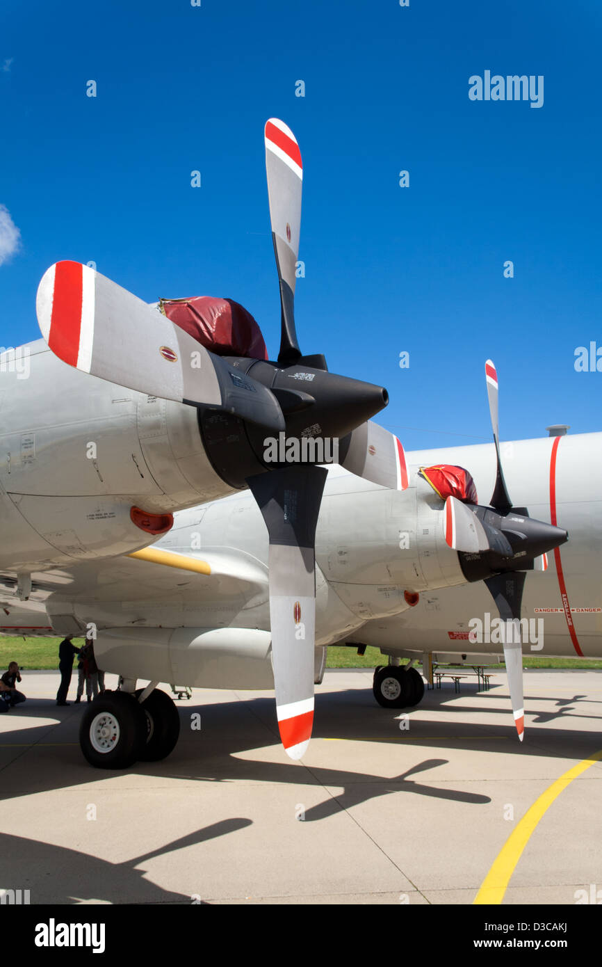 propeller engines from a navy p 3 orion aircraft stock photo