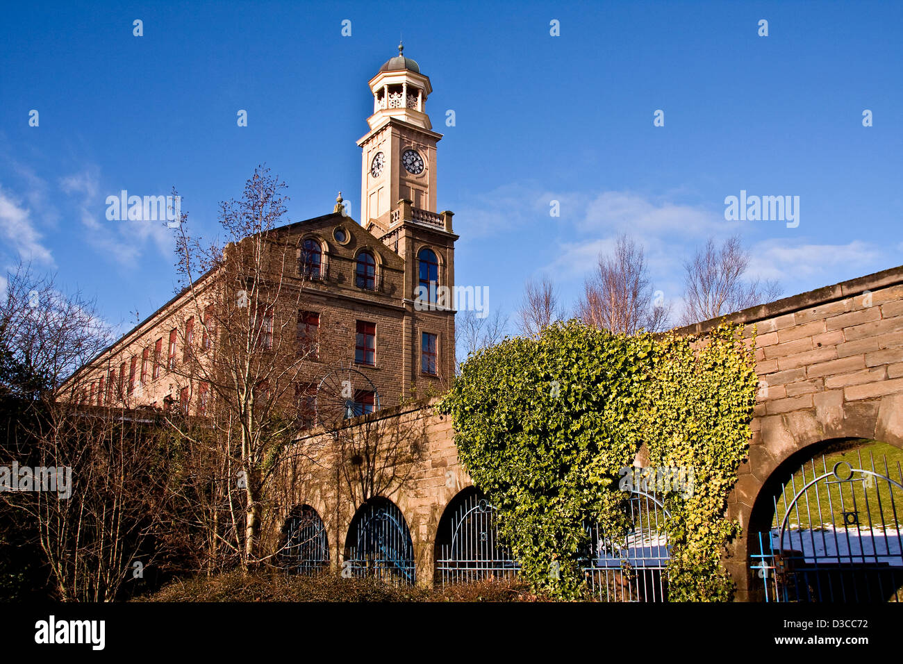 "James Cox`s 1864 ""Camperdown Works"" Jute Mill renovated into modern accommodation at The Cox`s Stack, Lochee in - Stock Image"