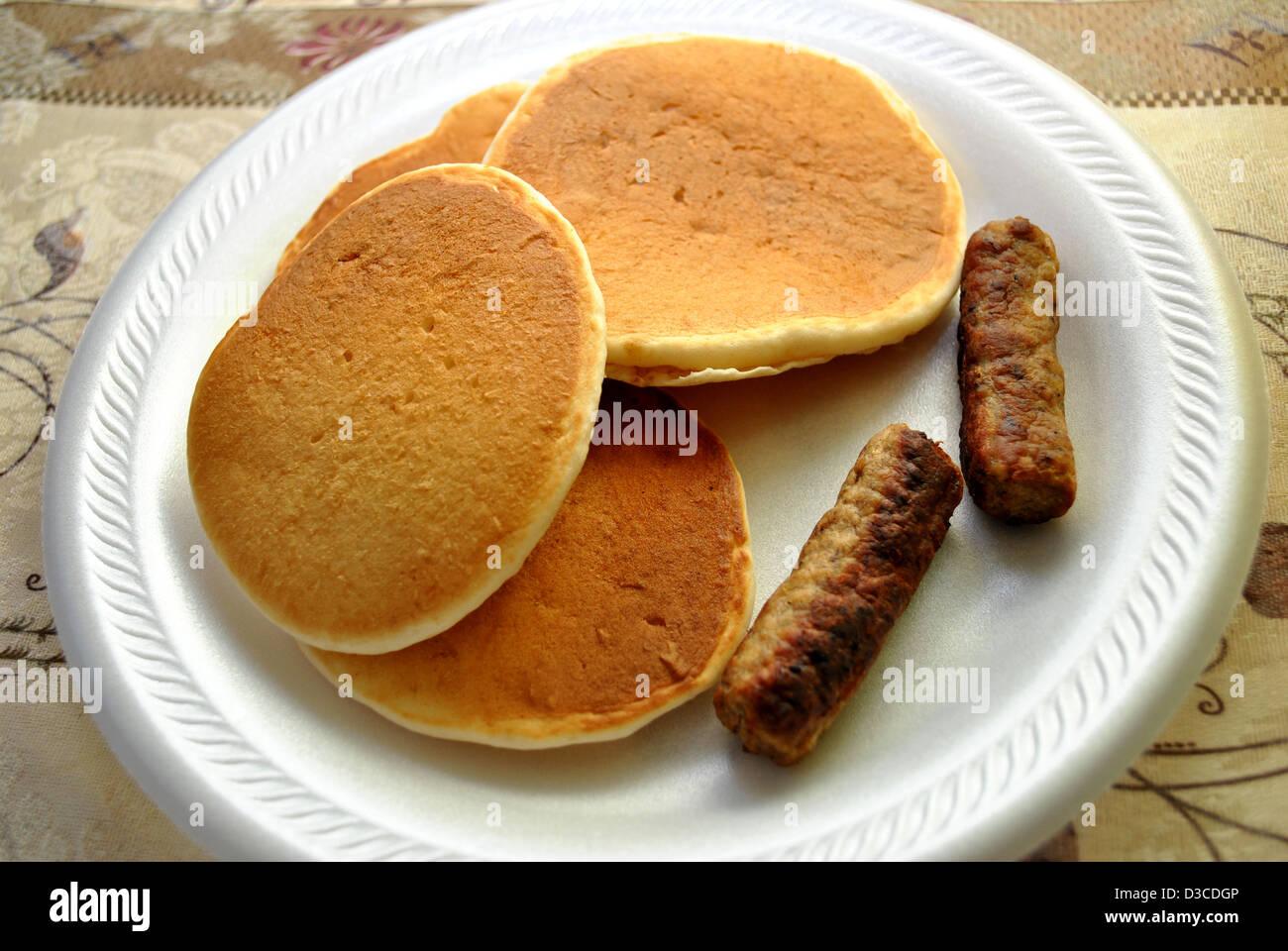 Flap Jacks and Sausage - Stock Image
