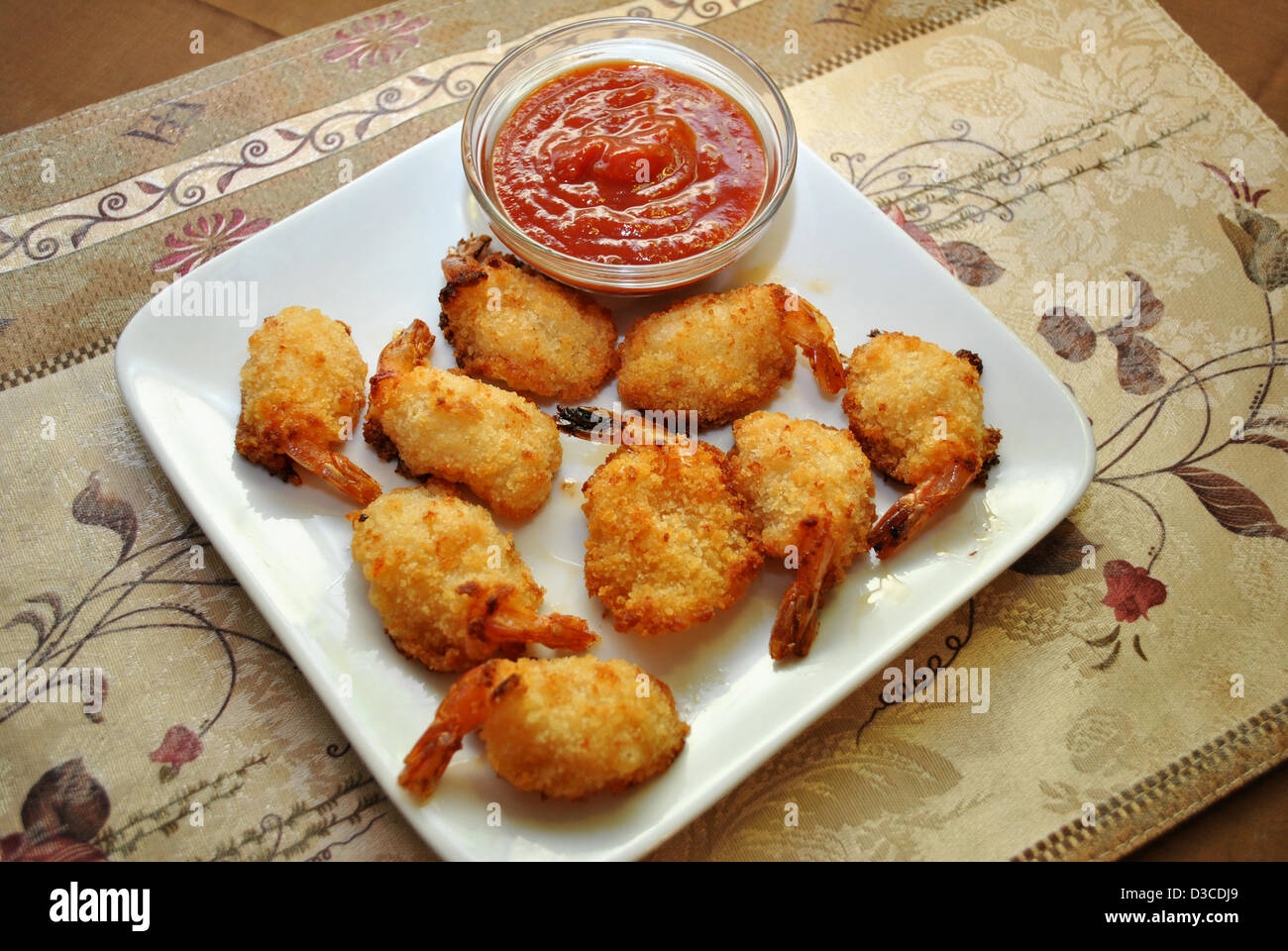 Cocktail Sauce with Breaded Shrimp Stock Photo