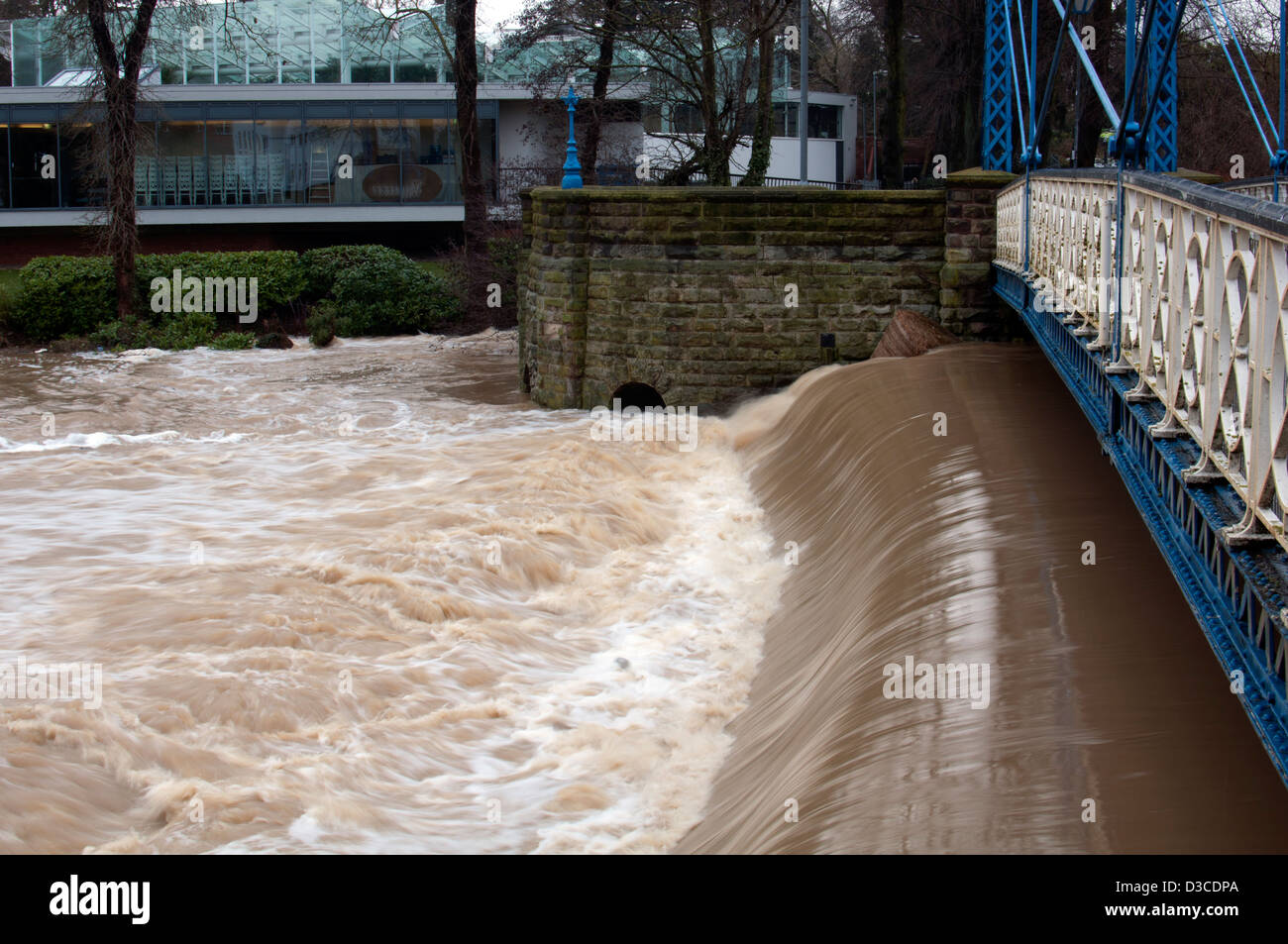 Mill Bridge and River Leam with floodwater, Leamington Spa, UK Stock Photo