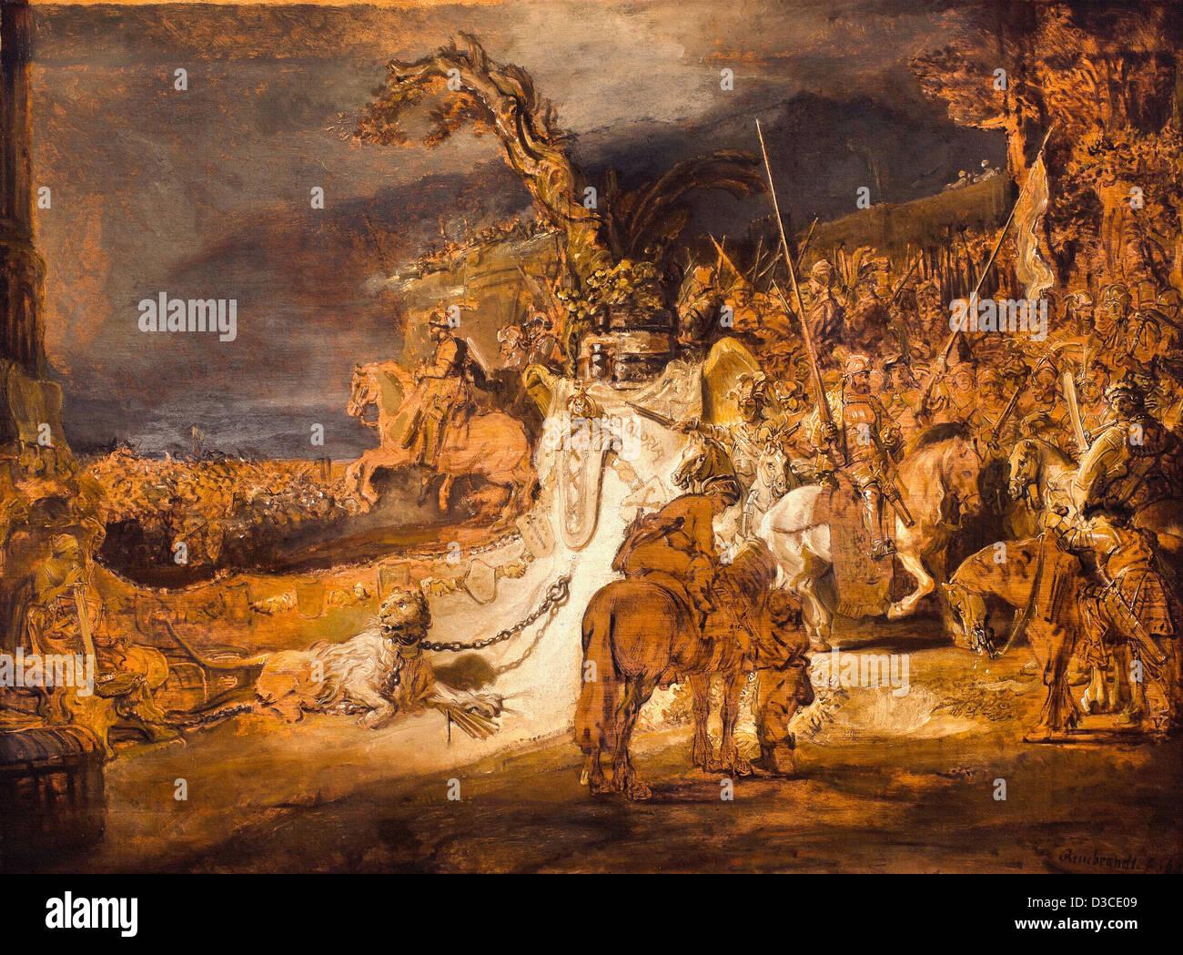 Rembrandt van Rijn, The Concord of the State. 1641 Oil on panel. Baroque. Museum Boijmans Van Beuningen, Rotterdam. - Stock Image