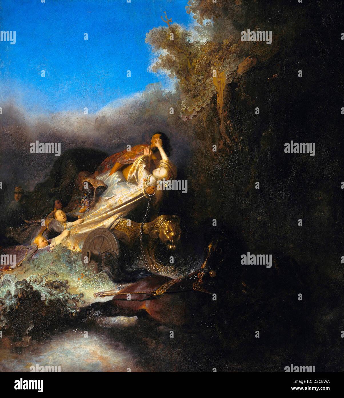 Rembrandt van Rijn, The Abduction of Proserpina. 1631 Oil on panel. Baroque. Gemaldegalerie, Berlin. - Stock Image