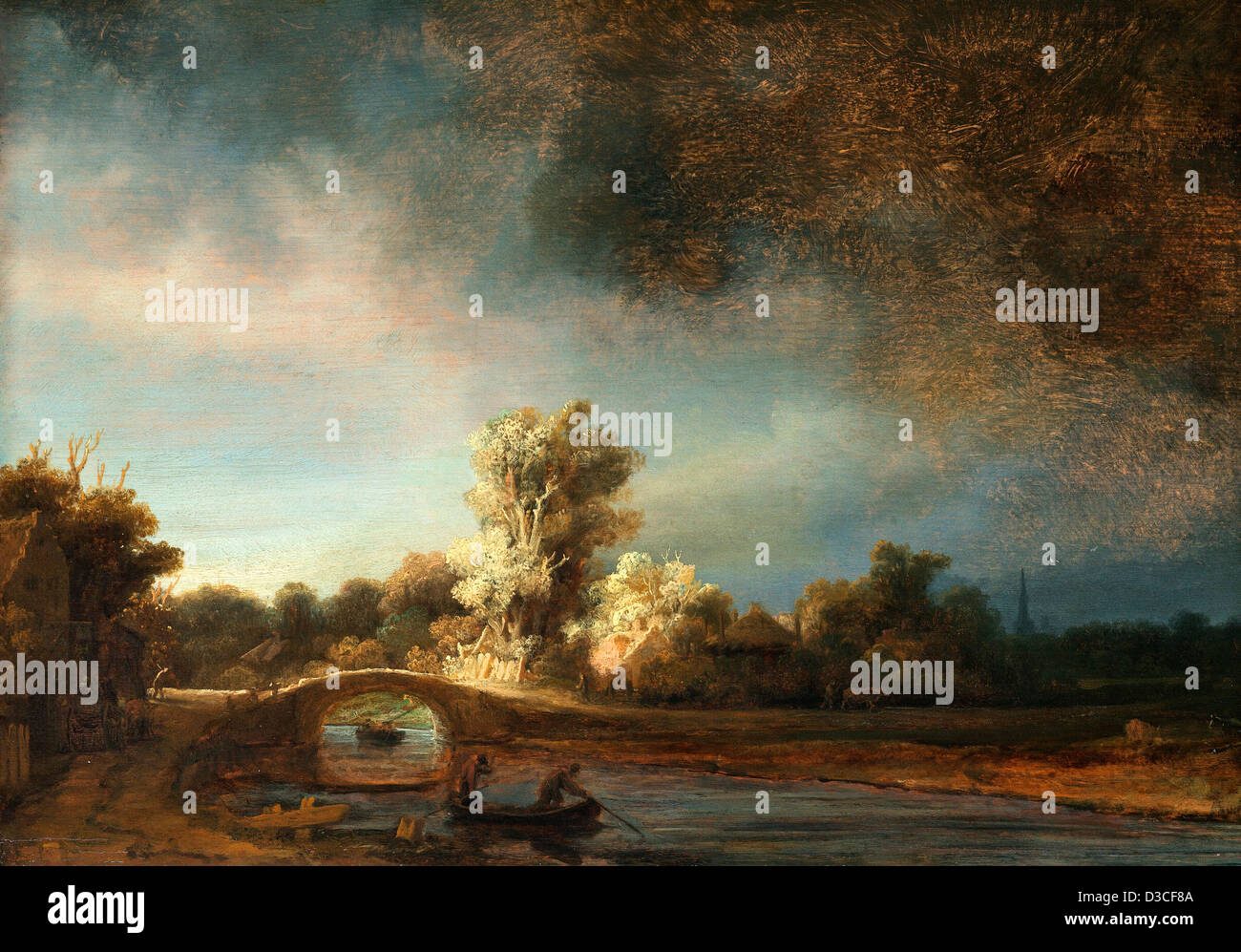 Rembrandt van Rijn, Landscape with a Stone Bridge. 1638 Oil on panel. Baroque. Rijksmuseum Amsterdam. - Stock Image