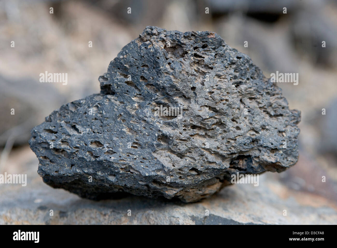 A piece of lava found along the Colorado river in the Grand Canyon - Stock Image
