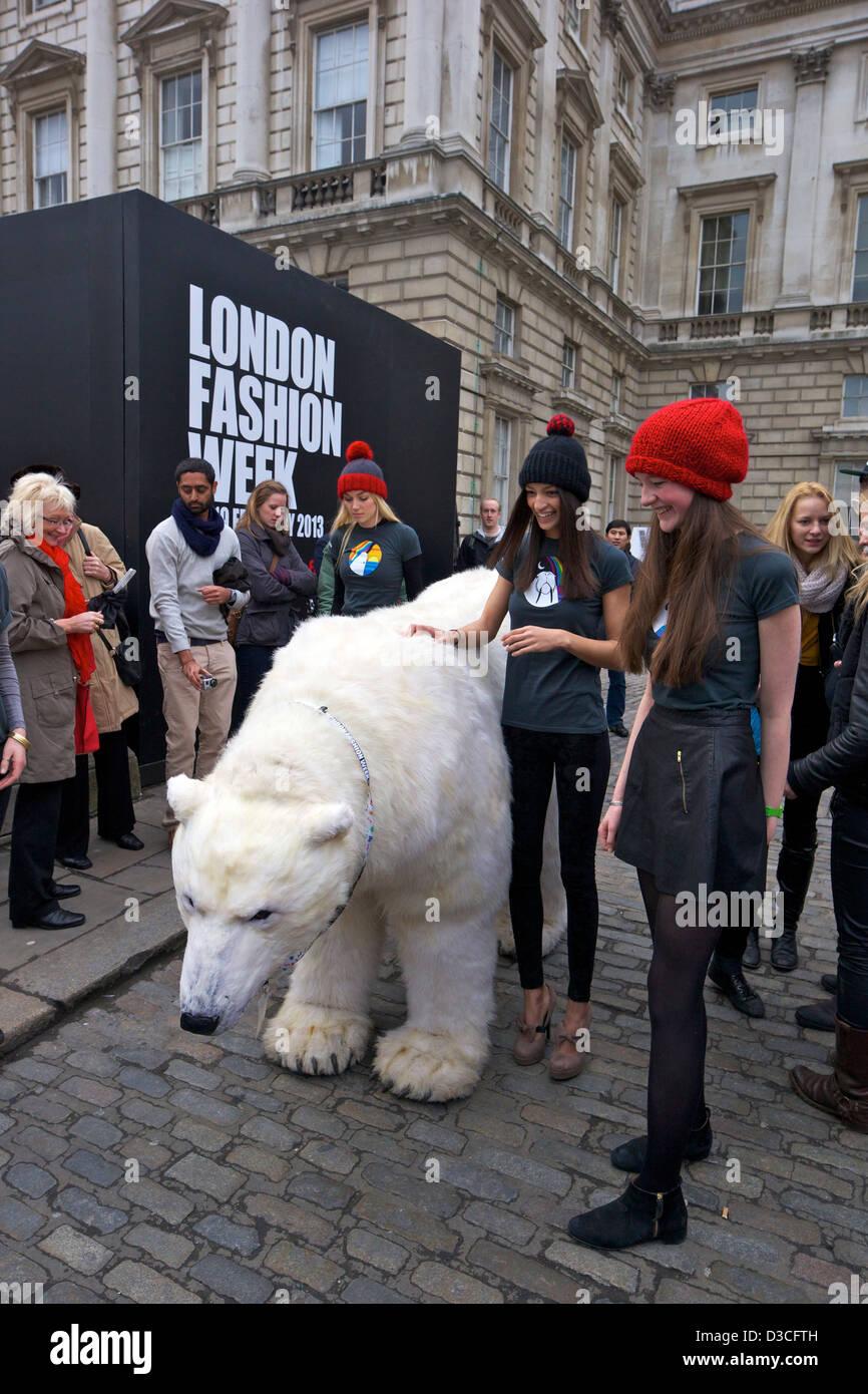 Greenpeace Polar bear visits London Fashion Week 15th February 2013 Somerset House, London, England, UK, GB - Stock Image