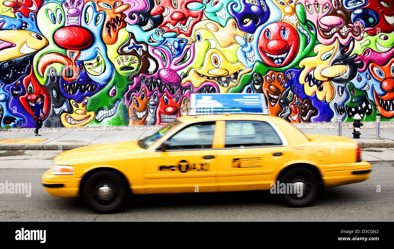 Yellow Cab And Wall Art, East Village, New York, Usa Stock Photo ...