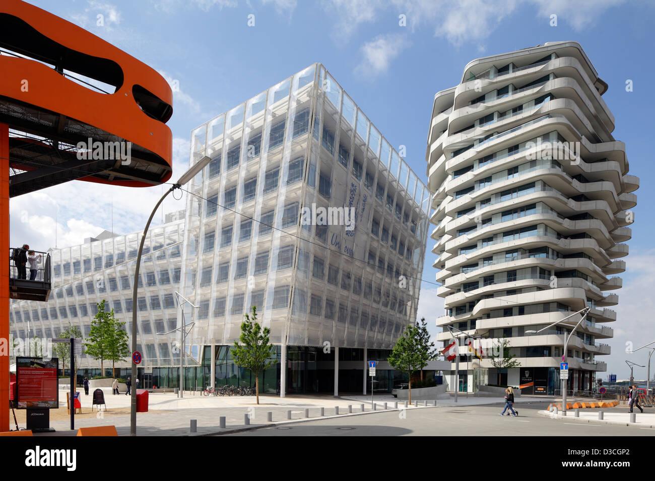 Hamburg, Germany, headquarters of Unilever Germany and Marco Polo Tower Strandkai - Stock Image