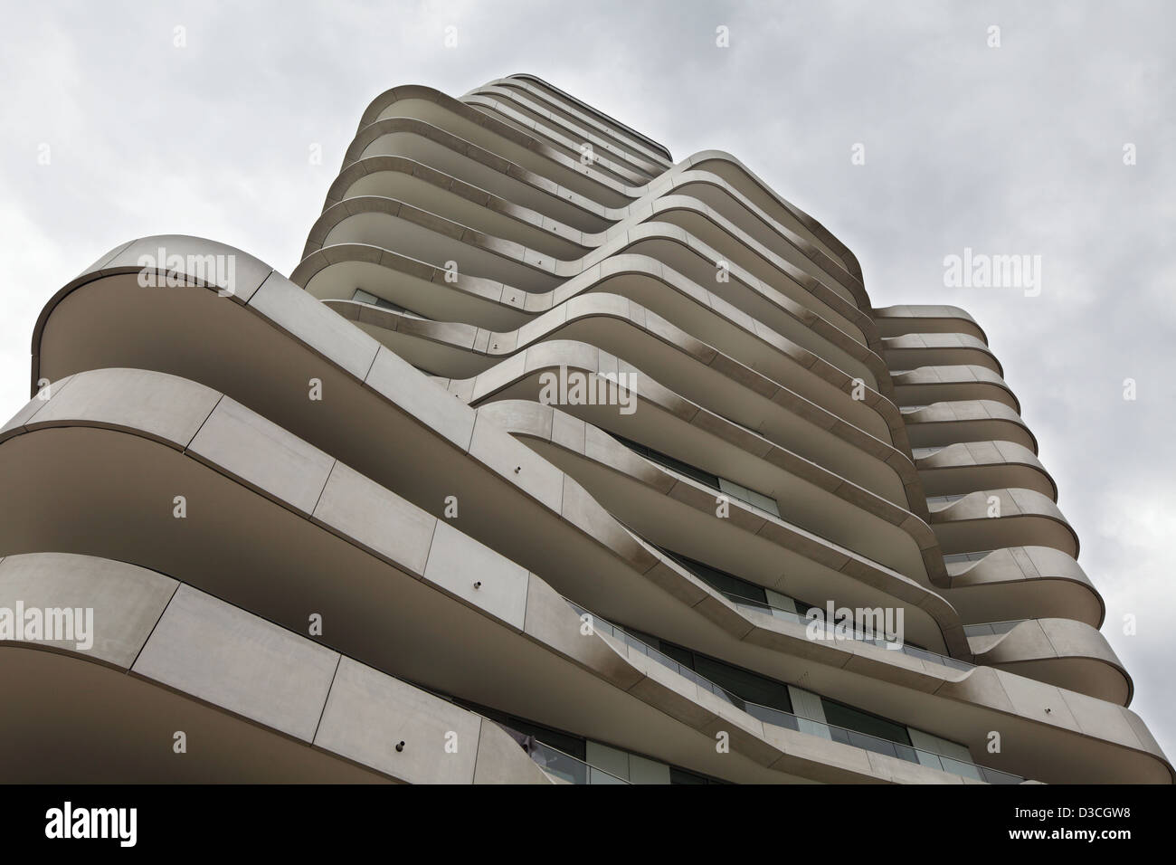 Hamburg, Germany, wellenfoermige concrete facade of the Marco Polo Towers Strandkai - Stock Image