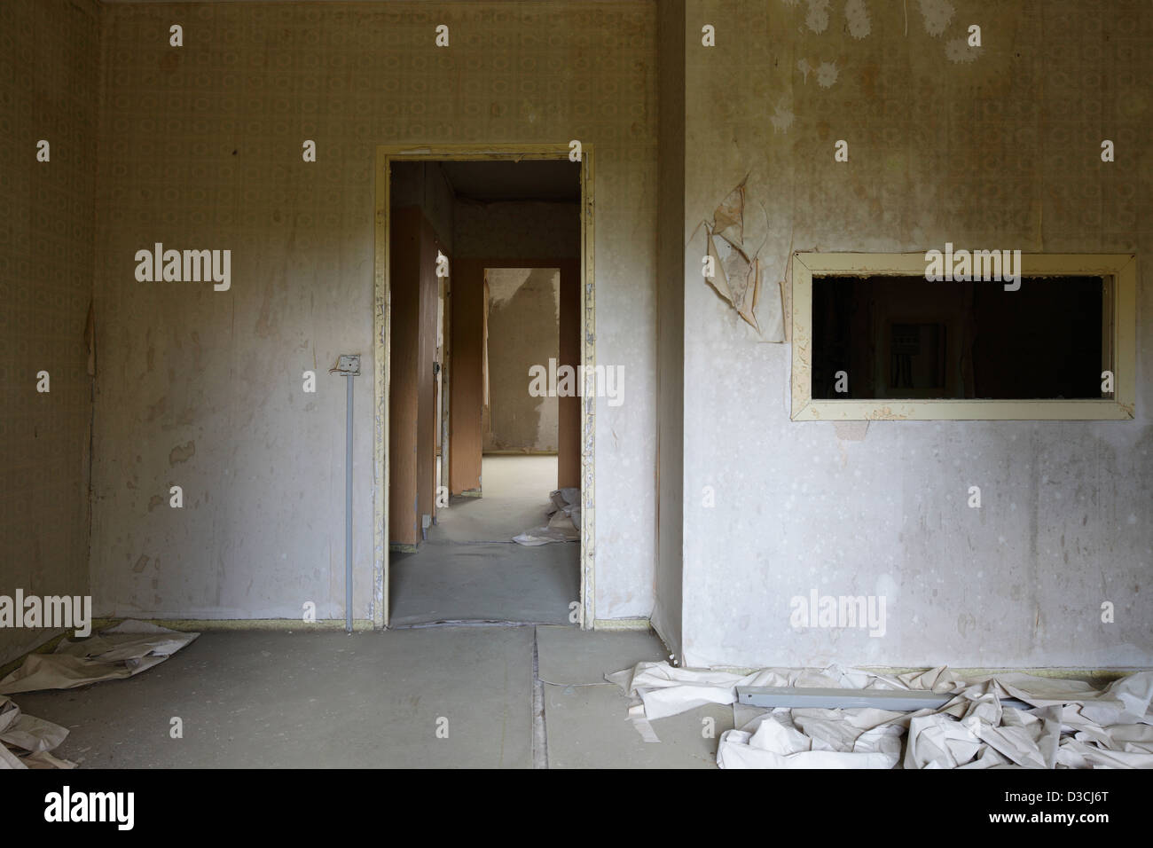 Gross Dölln, Germany, vacant apartment on the grounds of the airport Templin - Stock Image