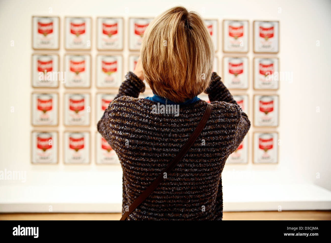 Woman Photographing Andy Warhol's Campbell Soup Series, Museum of Modern Art, MOMA, New York, NY, USA - Stock Image