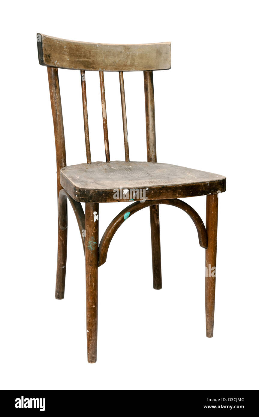 dirty old wooden chair isolated on white background Stock Photo
