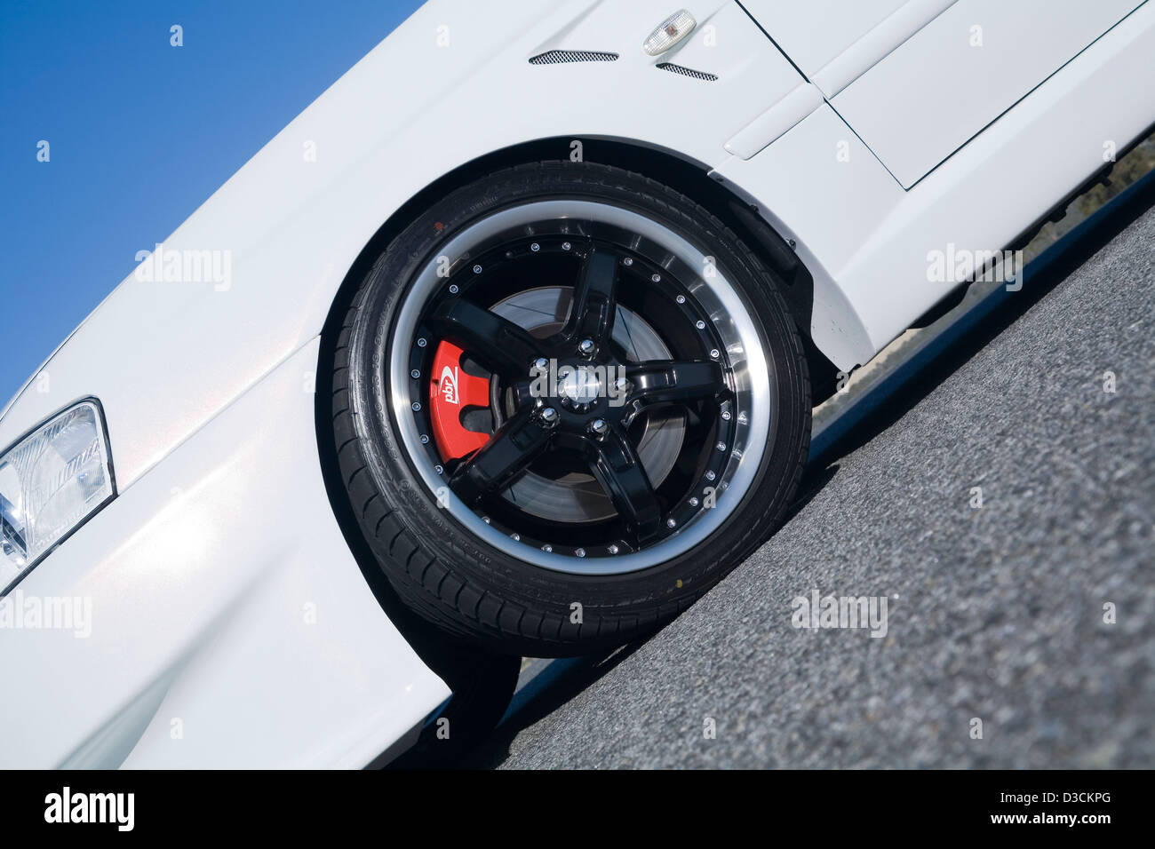 Alloy wheel and brake calliper on a modified custom car. - Stock Image