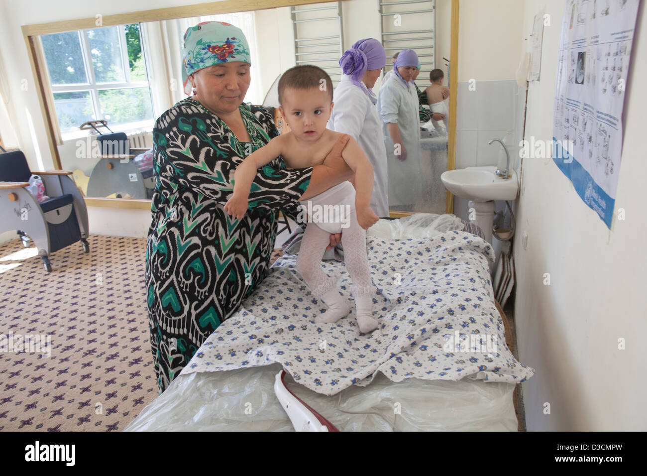 Children with polio at the Republican Children's Rehabilitation Center, 20 km from Dushanbe, Tajikistan - Stock Image