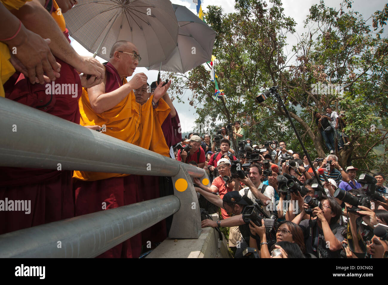 The Dalai Lama, Tibet's leader-in-exile, visits Taiwan to pray for victims of Typhoon Morakot in 2009. - Stock Image