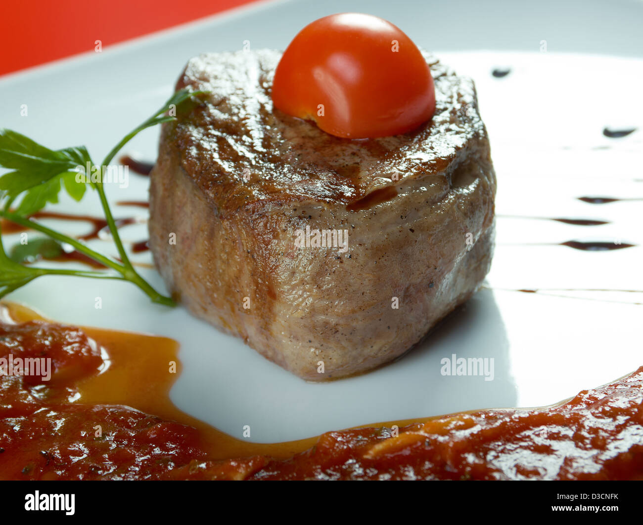 Grilled beef .Shallow depth-of-field. - Stock Image